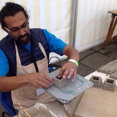 Vineet Kacker already at work in the demonstrators' tent #ICF2015 #icfaberystwyth