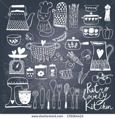 vintage kitchen set in vector on chalkboard background. stylish design elements: pepper-box fork spoon bowl pan mixer scales colander knife and others Chalkboard Doodles, Kitchen Chalkboard, Chalkboard Lettering, Chalkboard Designs, Diy Chalkboard, Chalk It Up, Chalk Art, Kitchen Art, Vintage Kitchen