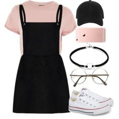 A fashion look from August 2017 featuring Topshop t-shirts, Converse sneakers and rag & bone hats. Browse and shop related looks. Outfits Designer Clothes, Shoes & Bags for Women Teen Fashion Outfits, Cute Fashion, Look Fashion, Korean Fashion, Womens Fashion, Fashion Ideas, Winter Fashion, Fashion Black, Casual Teen Fashion