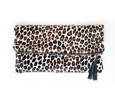 Leopard Calf Hair Clutch Leopard Fold Over Purse by gmaloudesigns