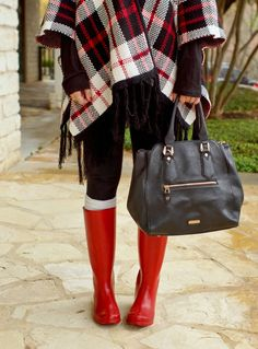 Plaid sweater cardigan poncho & red rain boots. Winter outfit