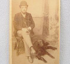 CDV Man & His Dog Photo Princes Risborough Bowler Hat Antique  | eBay