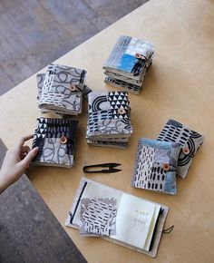 I finished some sewing booklets and I love how each is one of a kind. I really enjoy patching my remnants and I hope to list them next week… Handmade Books, Handmade Art, Stitch Book, Fabric Journals, Ideias Diy, Fabric Art, Fabric Books, Japanese Textiles, Needle Book