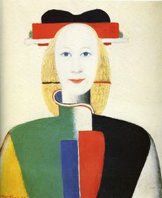 'Girl with a Comb in her Hair' (1932-1933) by Russian painter Kasimir Malevich (1879-1935). Oil on canvas, 35,5 x 31 cm. ty, Malcolm King. collection: Gallery Tretyakov, Moscow. via Wiki Media