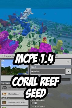 Minecraft PE Coral Feer and Underwater Cave Seed:freeborn Minecraft Pe Seeds, Video Minecraft, Candid Photography, Amazing Photography, Mcpe Seeds, Underwater Caves, Close Up Portraits, Scene Image, Photo Story