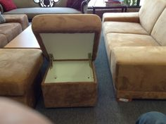 Ottoman - Micro fibre suede ottoman with storage. Perfect match to the 2 seat sofa.. Make a nice set.  Item 21006-32.  Price $175.00    - http://takeitorleaveit.co/2013/08/22/ottoman/