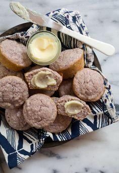 Blue Cornbread Muffins with Salty Honey Butter via @Adrianna Adarme / A Cozy Kitchen