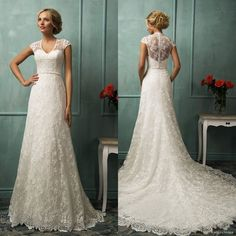 Sexy V Neck See Through Lace Corset A Line Lace Wedding Dresses Fashion Cap Sleeve Bridal Gowns With Long Train
