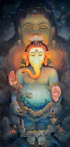 Ganesha and Shiva Arte Ganesha, Jai Ganesh, Shree Ganesh, Lord Ganesha, Krishna Hindu, Hindus, Indian Gods, Indian Art, Ganesha Pictures