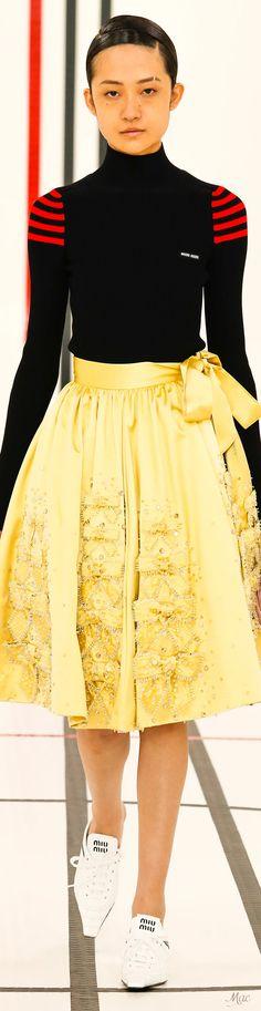 Fashion 2017, Runway Fashion, Shades Of Yellow, Miu Miu, Catwalk, High Waisted Skirt, Casual Dresses, Cashmere, Midi Skirts