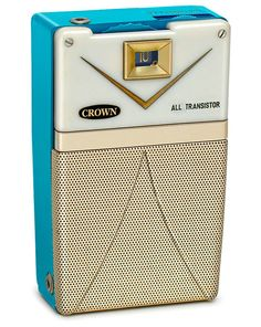 Vintage Crown TR-3A two-transistor radio. Six transistor models were also produced in this same cabinet by Crown as the Olympic 777 and the Midge BR-760. From the book 'Great Little Radios From Crown' here: http://www.collectornet.net/books/transistor/