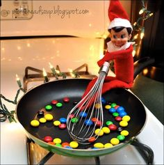 Elf making a sweet breakfast and other great last minute Elf on the Shelf ideas