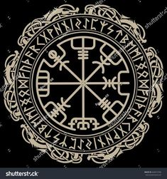 Viking design. Magical runic compass Vegvisir, in the circle of Norse runes and dragons, vector illustration