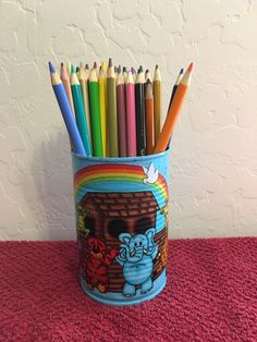 NOAHS ARK and ANIMALS Can Holder/Pencils/Pens/Brushes/Markers/Crayons/Toys/Money/Candy/Flowers/Gift Holder by KreationsGalore on Etsy