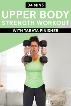 Upper Body Strength Workout with Tabata Finisher Mins) - This workout consists of two strength circuits targeting upper body and a bodyweight tabata finisher. You'll just need dumbbells. Workout Mix, Hiit Workout At Home, Gym Workout Videos, Floor Workouts, Fun Workouts, Body Workouts, Pilates Workout, Fitness Workouts, Workout Challenge