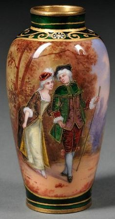 A minature Limoges enamel vase, balustroid-form, decorated with a scene of a… Lilac Painting, China Painting, Fine Porcelain, Porcelain Ceramics, Decoration, Art Decor, Green Ground, Vintage Vases, Antique China