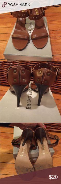 Heel brown sandals Dark chestnut/ brown 3.5 inch sandal - barely worn.  Heels are pretty new Bruno Valenti Shoes Heels