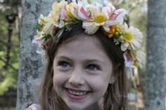 Floral head crown with yellow Daisy Chrysanthemums and Alstroemeria
