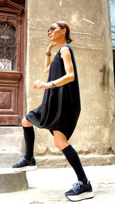 New COLLECTION Oversize Black Loose Casual Top / Linen Cotton Top / Extravagant Tunic / Black Dress A02132