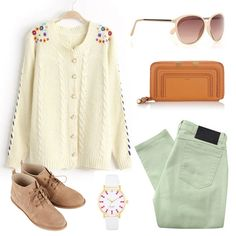 White Long Sleeve Embroidered Cable Knit