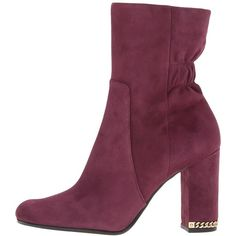 MICHAEL Michael Kors Dolores Bootie (Plum Kid Suede) Women's Boots (3,655 EGP) ❤ liked on Polyvore featuring shoes, boots, mid-calf boots, suede shoes, round toe ankle boots, shearling-lined boots and suede mid calf boots