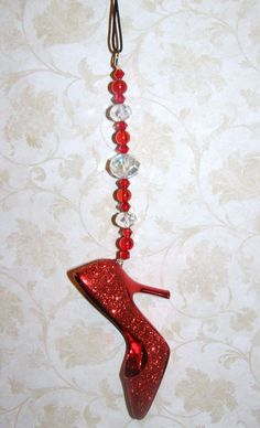Red Glittered High Heel Shoe/Stiletto Rear View by CharmedElegance