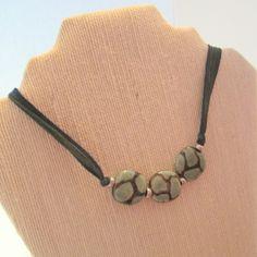 Kazuri bead necklace with giraffe pattern on dark green fairy silk ribbon; tie-on necklace by LisabelFish on Etsy