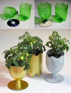 Bloemenvaas en plantenpot van cd's en #petflessen.