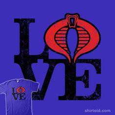Love Cobra | Shirtoid #cobra #film #gijoe #love #movie #popart #skullpy #tvshow