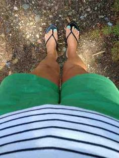Green, Stripes and turquoise pedicure @ Coastalpines