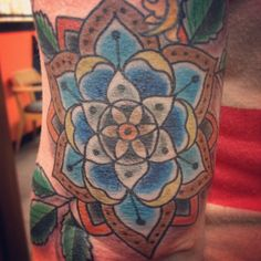 Traditional Tattoos.mandala flower tattoo by Nick Kelly. Signature Tattoo in Ferndale, MI. #mandalaflower #flowertattoos #nickkelly #signaturetattoo
