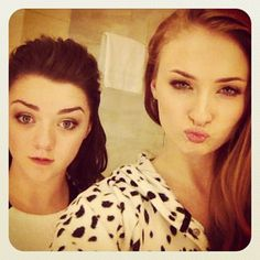 """But offscreen, 17 year-old Sophie Turner (Sansa) and 16 year-old Maisie Williams (Arya) are the best of friends. 
