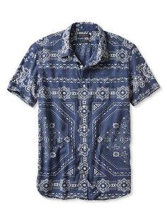 Camden-Fit Bandana Short-Sleeve Shirt | Banana Republic