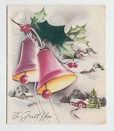 Vintage-Embossed-Bells-Holly-Tree-House-To-Greet-You-Christmas-Greeting-Card