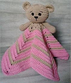 New crochet amigurumi baby doll tutorials Ideas Chat Crochet, Crochet Bear, Crochet Animals, Diy Crochet, Crochet Dolls, Crochet Security Blanket, Crochet Baby Blanket Free Pattern, Crochet Patterns, Bear Patterns