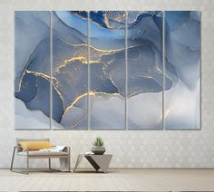 Office Wall Decor Blue Abstract Modern Marble 5 Panels x Ink Painting, Painting Prints, Canvas Prints, Wall Canvas, Office Wall Decor, Office Walls, Blue Abstract, Abstract Wall Art, Grand Art Mural
