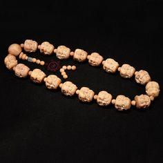 25mm Natural Thuja Sutchuenensis Hand-carved 4 Emotions Beads Bracelet Necklace Buddha Meditation Prayer Jewelry