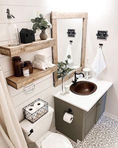 What do you think of this cute modern farmhouse bathroom? (Modern decor house interior design, modern decor inspiration design trends, modern home decor grey colour schemes, modern decor inspiration bathroom makeover. Grey Cabinets, Bathroom Interior, Design Bathroom, Cottage Bathroom Design Ideas, Rustic Bathroom Designs, Bathroom Furniture, Kitchen Design, Bedroom Decor, Bath Room Decor