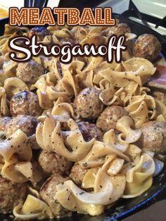 Meatballs Stroganoff ~ via The Melted Spatula