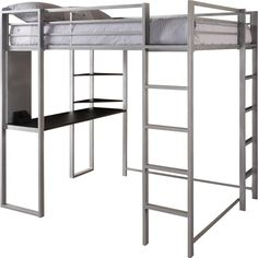 DHP Abode Full Size Metal Loft Bed (Abode Full Size Loft Bed, Silver)