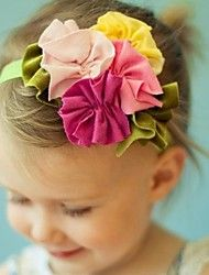 This sweet handmade girl headband features pink, sunny yellow, and moss green flowers. This contemporary headband makes a girly birthday girl gift. Diy Headband, Newborn Headbands, Baby Girl Headbands, Flower Headbands, Rosette Headband, Handmade Headbands, Headband Hairstyles, Diy Hairstyles, Pretty Hairstyles
