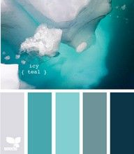 color combination: teal, aqua and grey (I'd love a mix between the icy teal and the grey for the exterior of our house w/ white trim and red or maybe burnt orange doors)