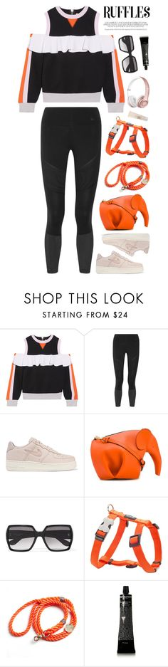 """Add Some Flair: Ruffled Tops No. 3"" by almost-glamorous ❤ liked on Polyvore featuring No Ka'Oi, NIKE, Loewe, Yves Saint Laurent, Dingo, Found My Animal, Grown Alchemist, Dr. Dennis Gross Skincare, ruffles and ruffletops"