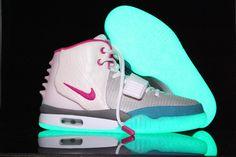 Glow In The Dark Nike Air Yeezy 2 Grey Pink Blue Shoes