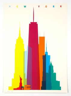 A graphic art prints by London-based artist and graphic designer Yoni Alter. Each print of the series features the shapes of a city's landmarks accurate to scale. Poster Digital, New York Art, Poster Prints, Art Prints, Layout Inspiration, Art And Architecture, Digital Illustration, Retro, Screen Printing