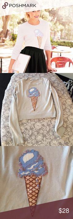 1 day sale! LC Lauren Conrad ice cream sweater EUC LC Lauren Conrad ice cream beaded crop sweater, adorable! 🍦 LC Lauren Conrad Sweaters Crew & Scoop Necks