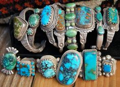 Turquoise and sterling silver rings and cuff bracelets