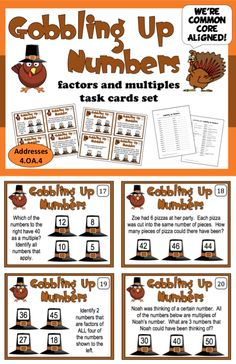 Build your students' understanding of factors and multiple relationships with this FREE set of fall-themed task cards. The 32 cards in this set focus on factors of numbers through 50 and multiples of numbers through 12. Your kids will gobble up these task cards and ask for seconds!