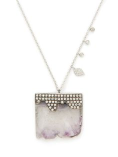 Stalactite & Diamond Pendant Necklace by Meira T