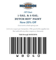 DIY Deal 1 gal. & 5 Gal. Dutch Boy® Paint Now 20% Off Give rooms a fresh spring coat.